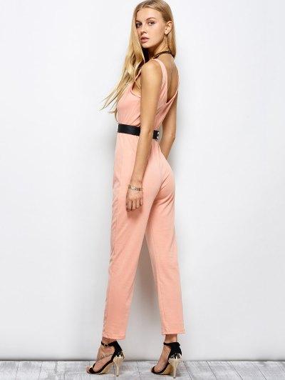 Half Zip Straight Jumpsuit - PINK L Mobile