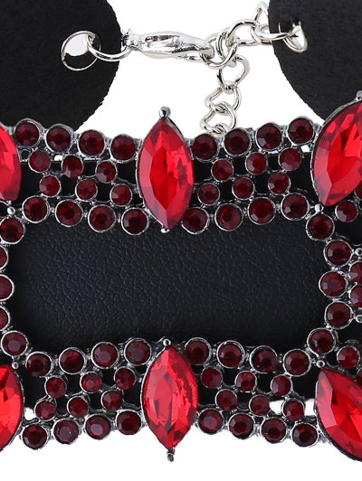 Artificial Leather Rhinestoned Choker Necklace - RED  Mobile