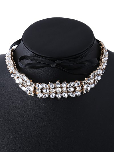 Faux Leather Rhinestone Necklace - GOLDEN  Mobile