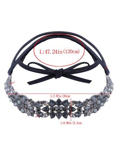 Faux Leather Rhinestone Necklace - BLACK  Mobile
