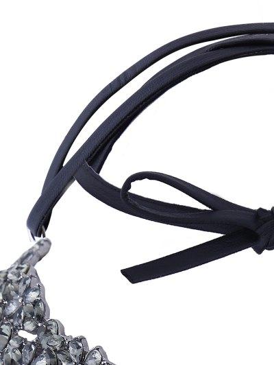 Rhinestoned PU Leather Necklace - BLACK  Mobile