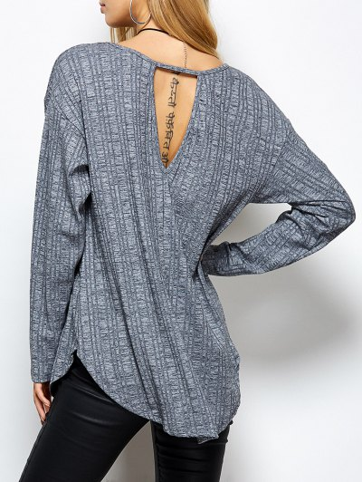 V Neck Cut Out Loose T-Shirt - GRAY XL Mobile