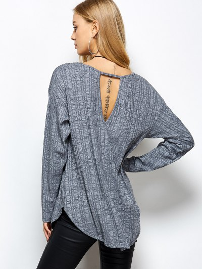 V Neck Cut Out Loose T-Shirt - GRAY S Mobile