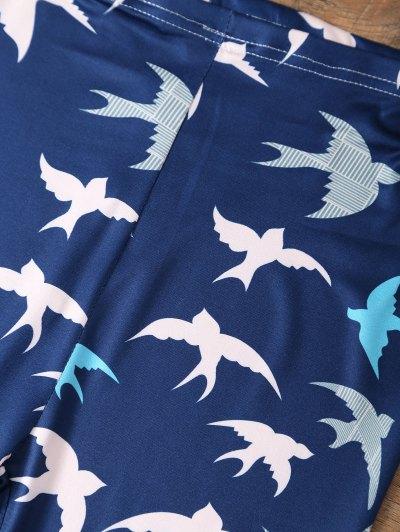 Elastic Waist Swallow Print Leggings - PURPLISH BLUE L Mobile