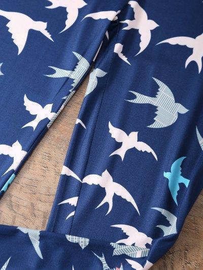 Elastic Waist Swallow Print Leggings - PURPLISH BLUE M Mobile