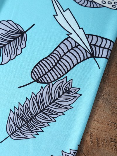 Slimming Leaf Pattern Leggings - LAKE BLUE L Mobile