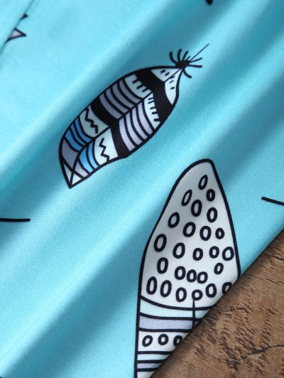 Slimming Leaf Pattern Leggings - LAKE BLUE M Mobile