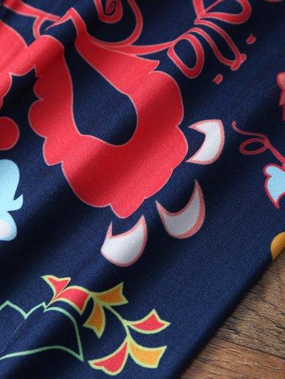 Slimming Tiny Floral Pattern Leggings - PURPLISH BLUE M Mobile
