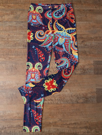 Slimming Paisley Leggings - COLORMIX L Mobile