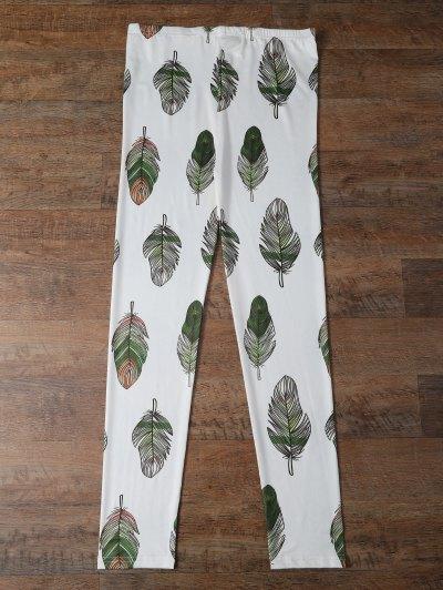 Slimming Leaf Leggings - WHITE M Mobile