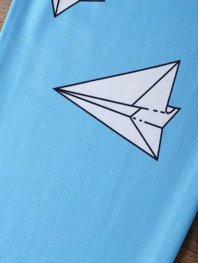 Paper Plane Print Leggings - OCEAN BLUE L Mobile