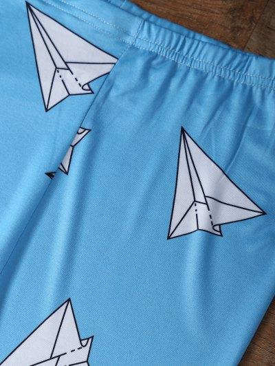 Paper Plane Print Leggings - OCEAN BLUE M Mobile