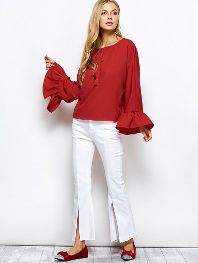 Ruffles Dolman Sleeve Loose Blouse - RED 2XL Mobile