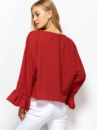 Ruffles Dolman Sleeve Loose Blouse - RED XL Mobile