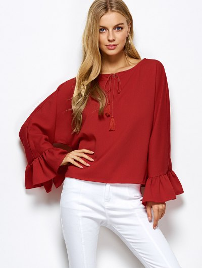 Ruffles Dolman Sleeve Loose Blouse - RED L Mobile