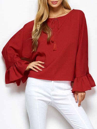 Ruffles Dolman Sleeve Loose Blouse - RED M Mobile