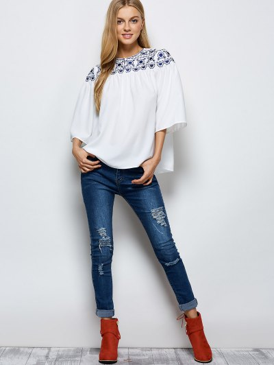 Retro Embroidery Jewel Neck Swing Blouse - WHITE 2XL Mobile