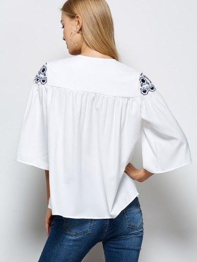 Retro Embroidery Jewel Neck Swing Blouse - WHITE XL Mobile