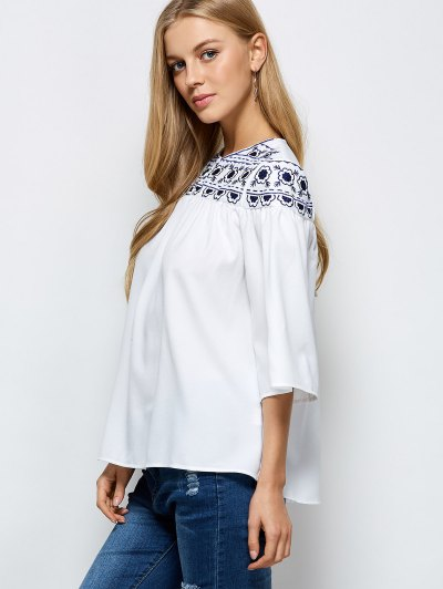 Retro Embroidery Jewel Neck Swing Blouse - WHITE L Mobile