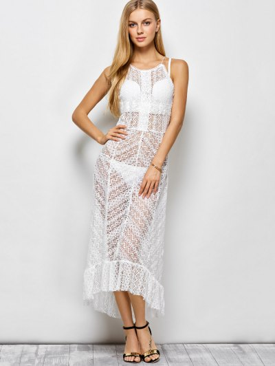 Ruffles See Through Maxi Cami Dress - WHITE XL Mobile