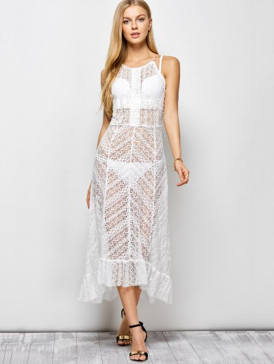 Ruffles See Through Maxi Cami Dress - WHITE L Mobile