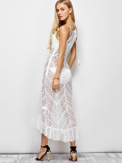 Ruffles See Through Maxi Cami Dress - WHITE S Mobile