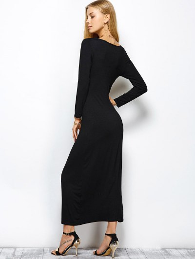 Plunge Neck Slit Bodycon Maxi Dress - BLACK XL Mobile