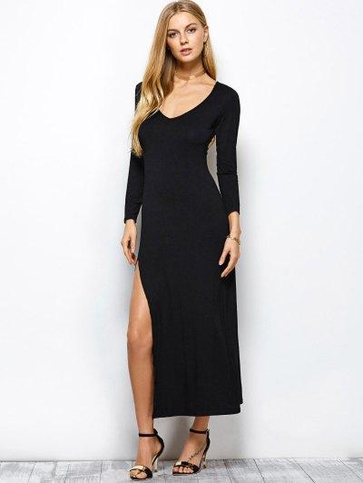 Plunge Neck Slit Bodycon Maxi Dress - BLACK M Mobile