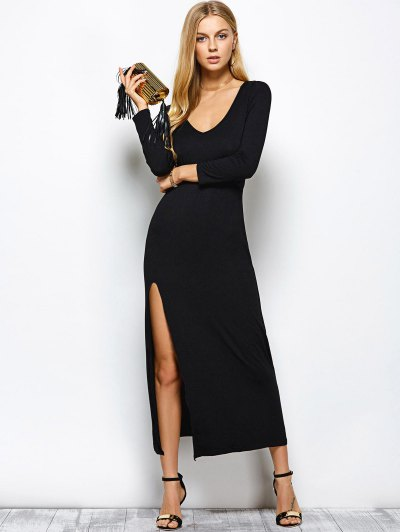 Plunge Neck Slit Bodycon Maxi Dress - BLACK S Mobile