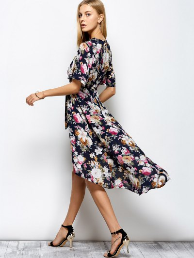 Front Slit Floral Maxi Surplice Dress - FLORAL XL Mobile