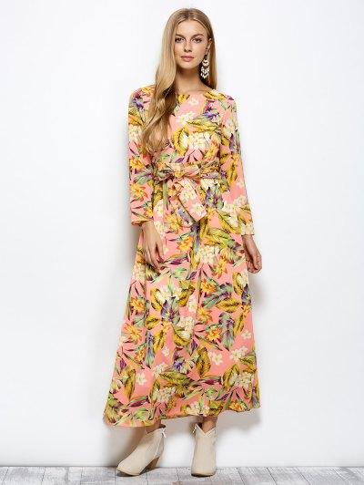 Floral Belted Maxi Dress - FLORAL XL Mobile