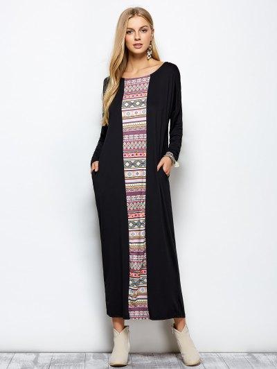 Batwing Sleeve Tribal Print Maxi Dress - BLACK 2XL Mobile