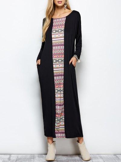 Batwing Sleeve Tribal Print Maxi Dress - BLACK M Mobile