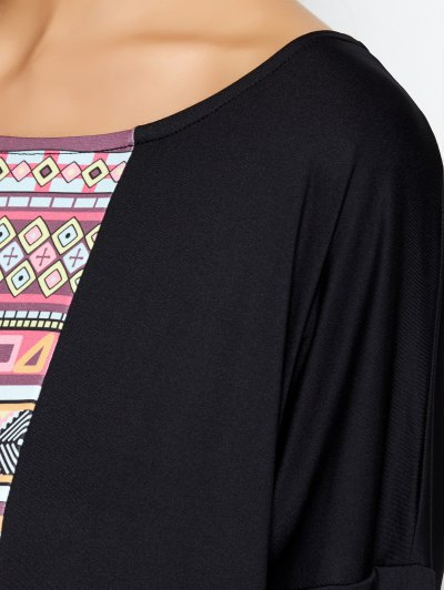 Batwing Sleeve Tribal Print Maxi Dress - BLACK M Mobile