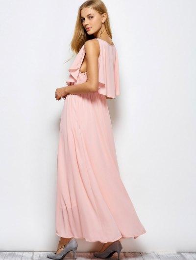 Ruffles Plunge Neck Maxi Dress - PINK XL Mobile