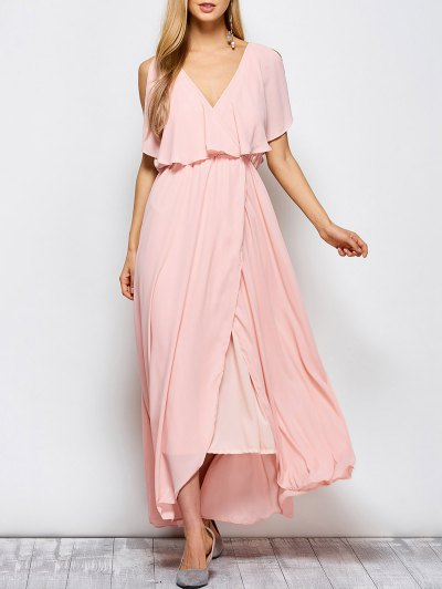 Ruffles Plunge Neck Maxi Dress - PINK M Mobile