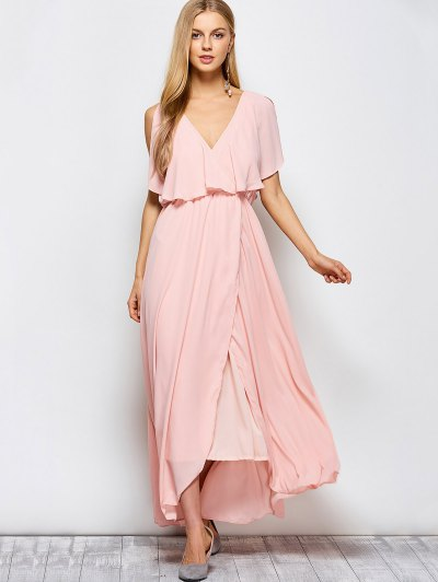 Ruffles Plunge Neck Maxi Dress - PINK S Mobile