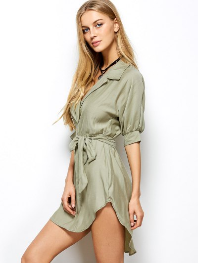High Low Belted Surplice Shirt Dress - LIGHT GREEN 2XL Mobile
