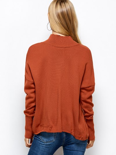 Turtleneck Crossover Hem Sweater - JACINTH XL Mobile