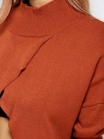 Turtleneck Crossover Hem Sweater - JACINTH M Mobile