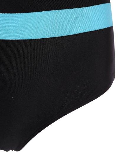 Halter Sleeveless Color Block One-Piece Swimwear - BLACK M Mobile