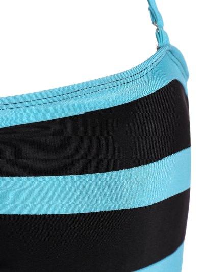 Halter Sleeveless Color Block One-Piece Swimwear - BLACK L Mobile