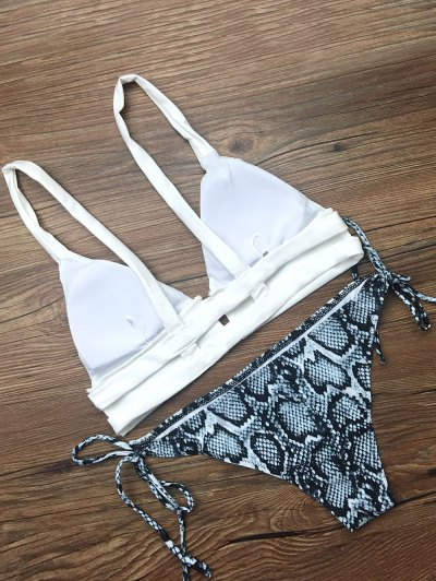 Cami String Abstract Bikini Set - WHITE L Mobile