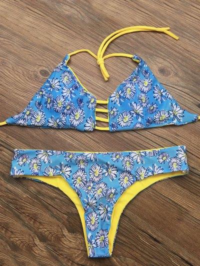 Halter Cut Out Floral Bikini Set - BLUE XL Mobile