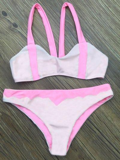 Scalloped Color Block Bikini Set - LIGHT PINK XL Mobile