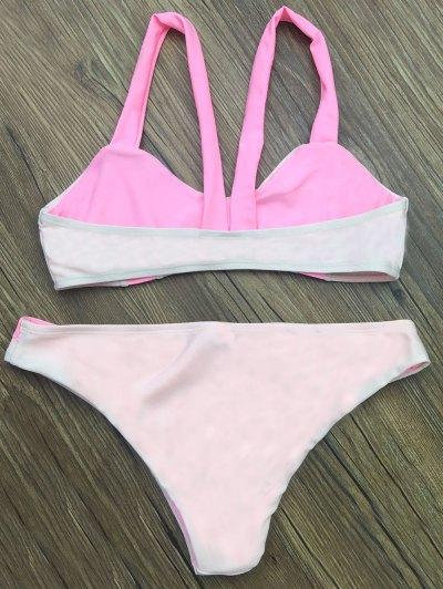 Scalloped Color Block Bikini Set - LIGHT PINK M Mobile