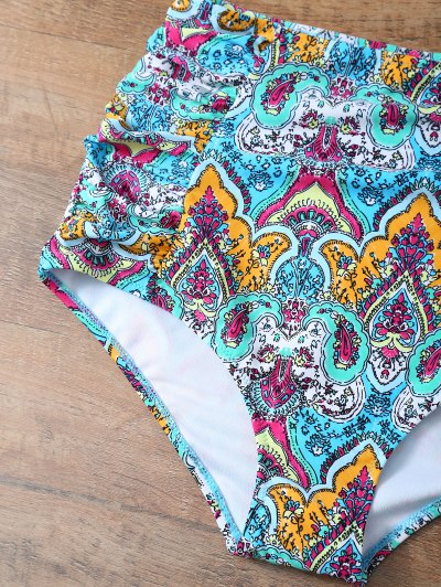 High Waisted Knitted Printed Bikini Set - MULTICOLOR XL Mobile