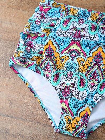 High Waisted Knitted Printed Bikini Set - MULTICOLOR L Mobile