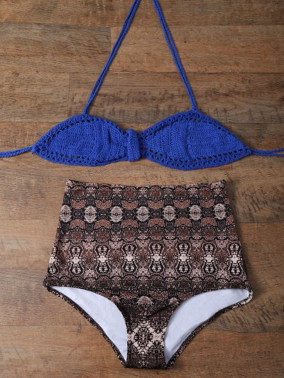 High Waisted Printed Knitted Bikini - MULTICOLOR L Mobile