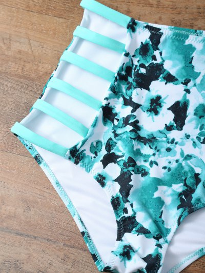 High Rise Knitted Stringy Bikini - BLUE AND GREEN 2XL Mobile
